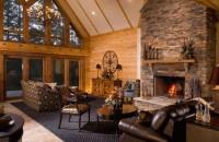 Дизайн гостиной в деревянном доме — фото идеи