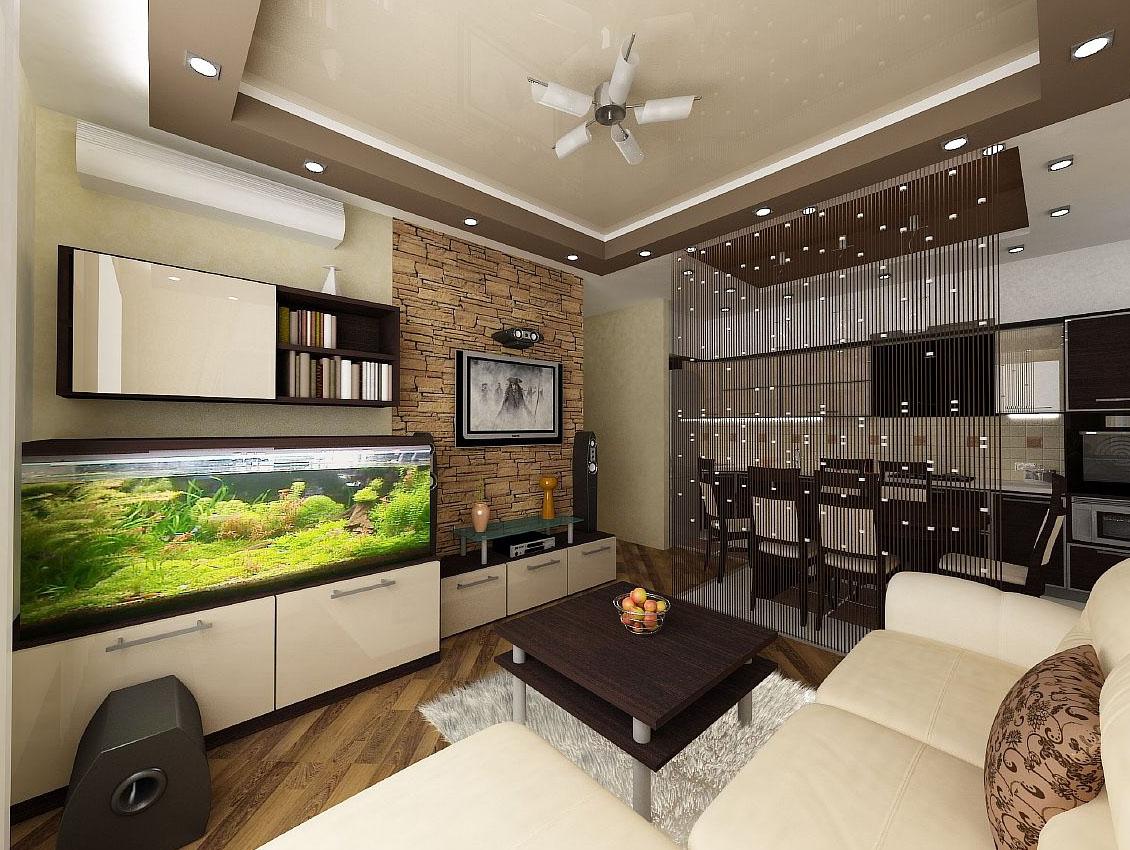 Кухня-гостиная дизайн интерьер 18 кв.м