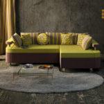 диван еврокнижка в интерьере маленькой гостиной