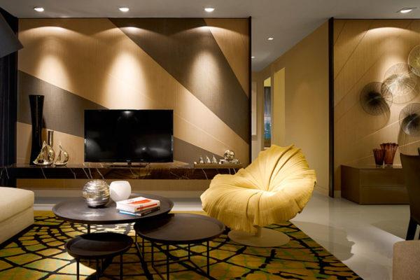 модерн в дизайне стильной гостиной