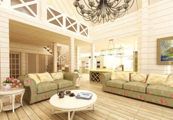 круглый стол в интерьере деревянного <u>интерьер гостиная с камином в деревянном доме</u> дома