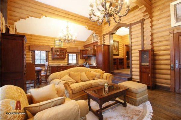 мягкая мебель в дизайне гостиной из дерева