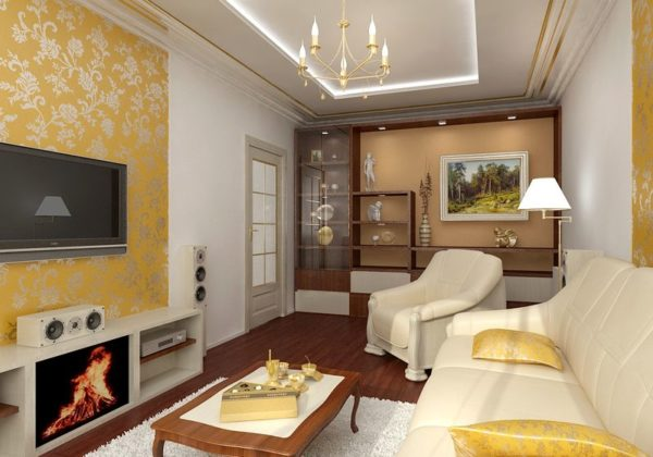 дизайн гостиной с камином и телевизором