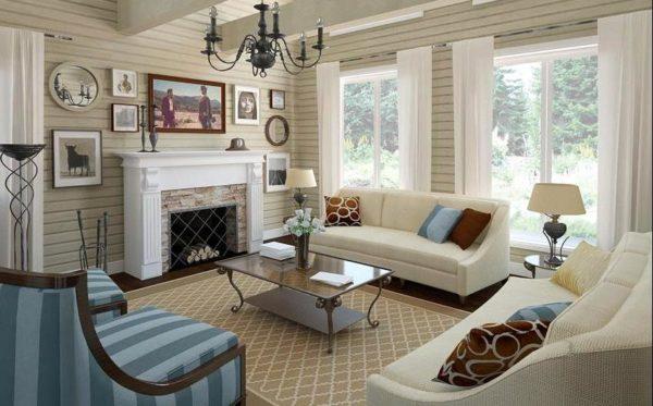 интерьер гостиной комнаты в деревянном доме