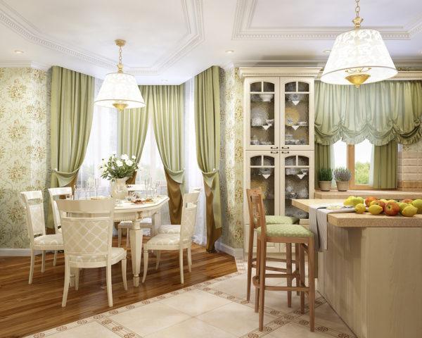 светлая кухня гостиная