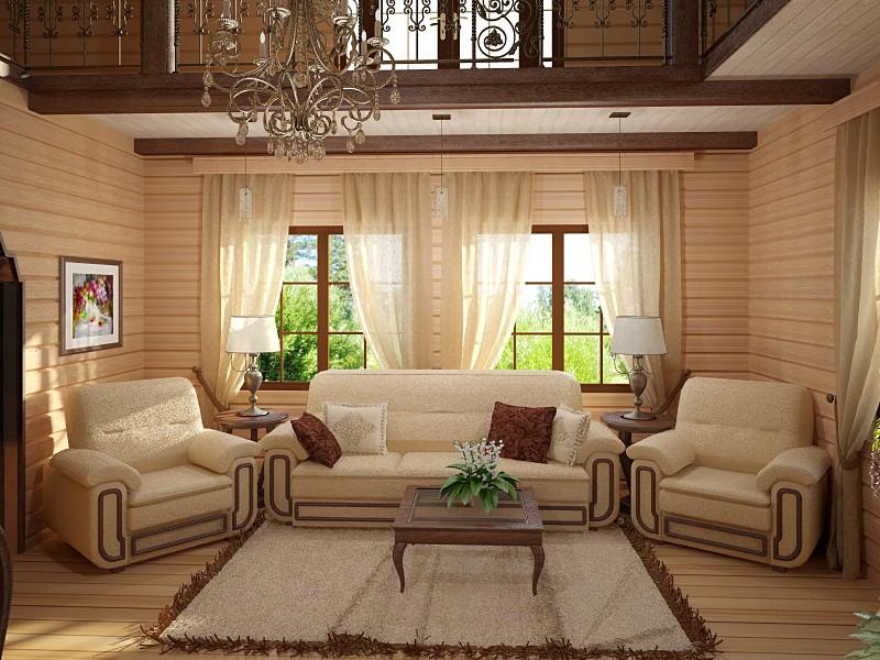 Интерьер дом из бруса фото