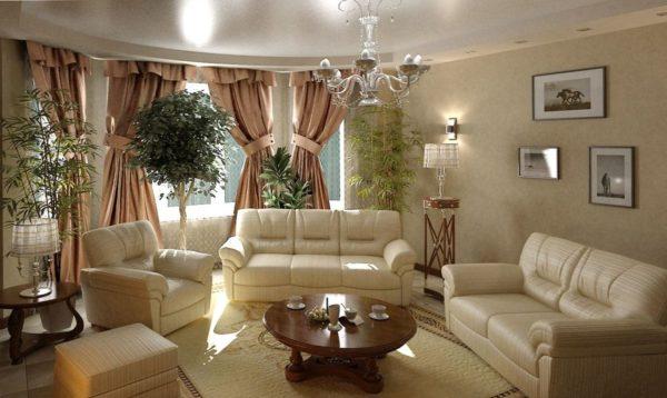белая классика в дизайне гостиной