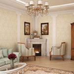 Маленькая гостиная в классическом стиле, кресла, камин, часы