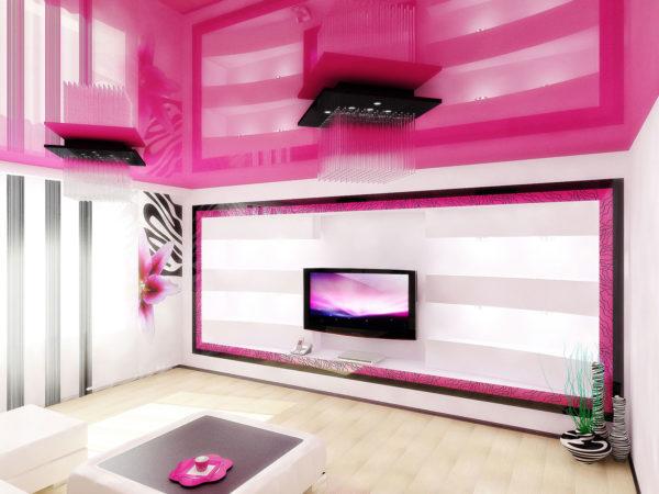 полоски в гостиной в стиле фуксия