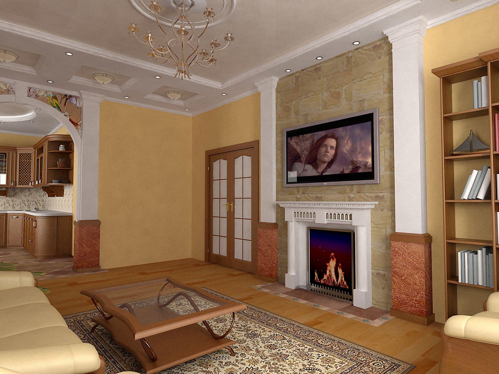 Дизайн зала с камином электрическим фото