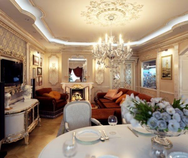 гостиная с кухней в едином дизайне