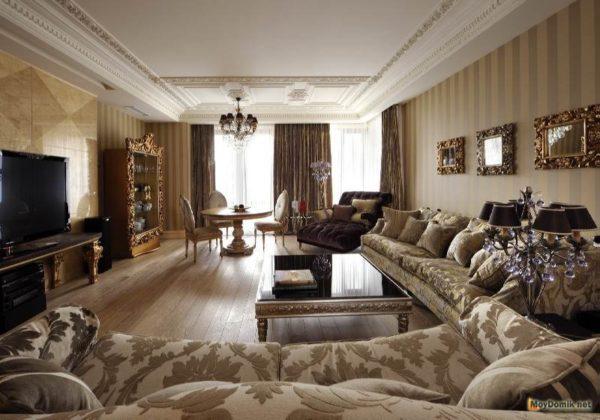 оформление просторной гостиной