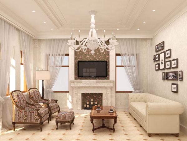 роскошный светлый интерьер для гостиной
