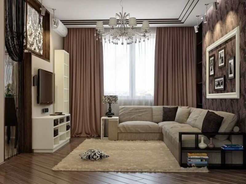темные однотонные шторы в интерьере гостиной