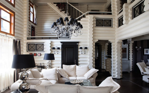 черно-белый интерьер загородного дома