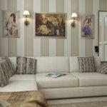 светлая полоска в светлом дизайне гостиной