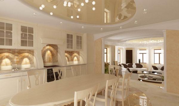 изящная кухня гостиная