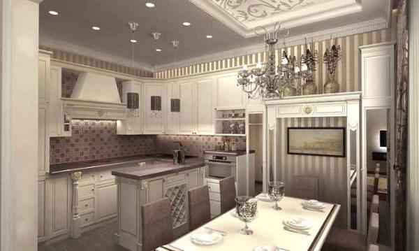 кухня гостиная с обоями