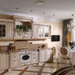 интересное решение дизайна кухни гостиной