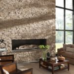 камень пастельного тона в оформлении гостиной