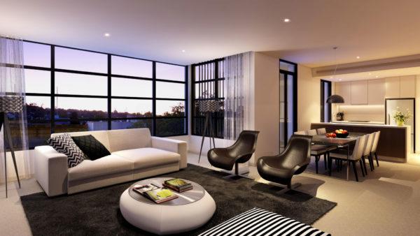 зонирование гостиной в современном стиле
