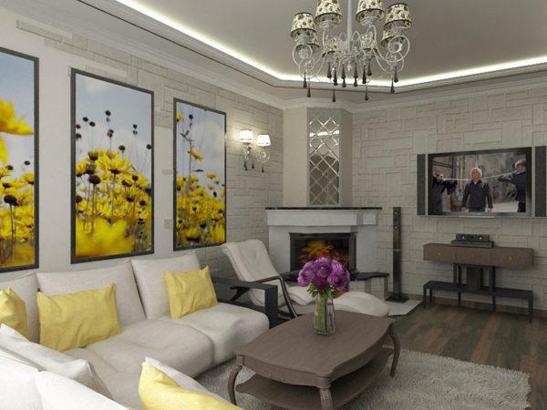 желтый в оформлении комнаты с камином
