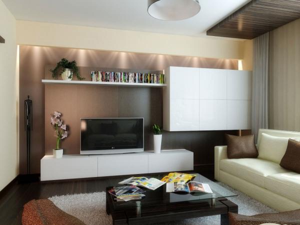 отделка гостиной комнаты в современном стиле