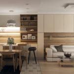 современная отделка кухни гостиной