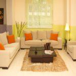 оранжевый в пастельной гостиной