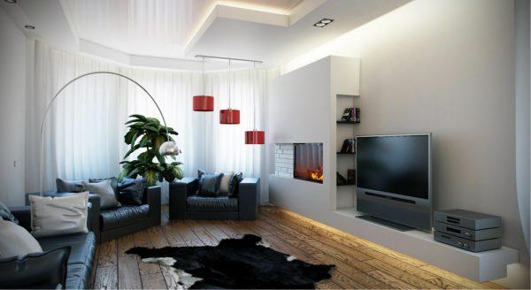 черная мебель в светлом интерьере