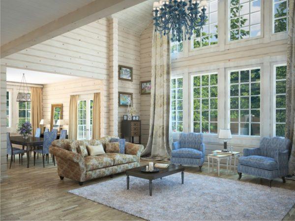 светлый интерьер в гостиной из дерева