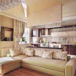 единый дизайн кухни и гостиной