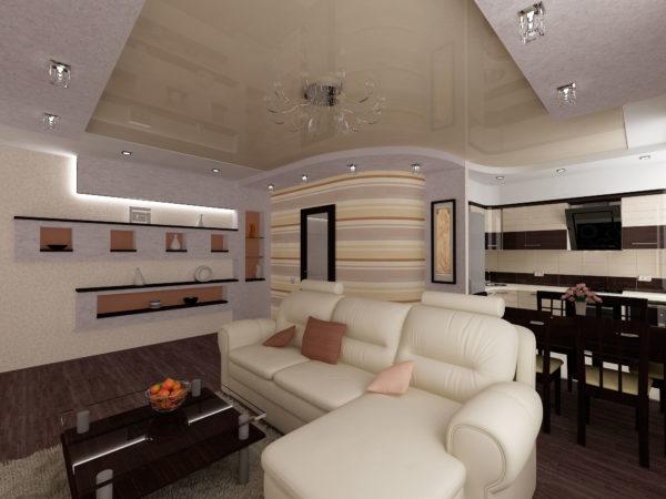 Кожаный диван и горизонтальные полосы