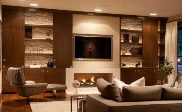 Wenn Der Fernseher Auf Einem Ständer Montiert Ist, Dass Es Nicht Aus Dem  Inneren Abheben Sollte. Betrachten Sie Die Farbe Und Material Aus Stein, ...