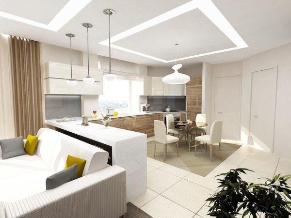 современный потолок в гостиной совмещенной с кухней