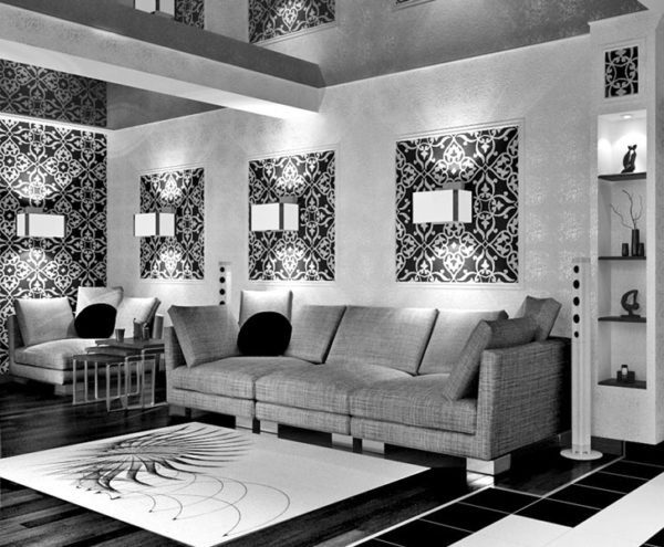 дизайн гостиной с правильным освещением и обоями