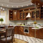 классика в дизайне кухни гостиной