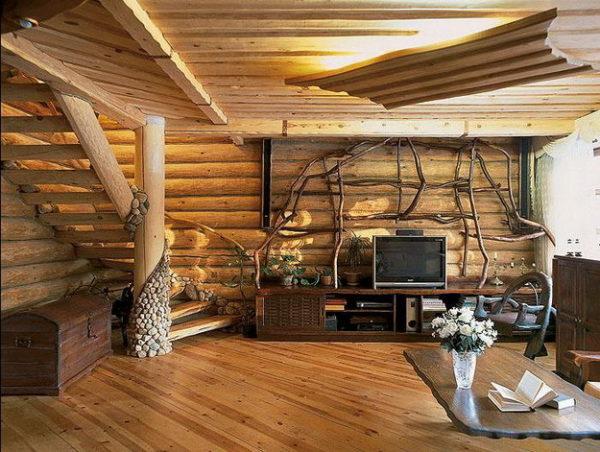оригинальный интерьер дома из дерева