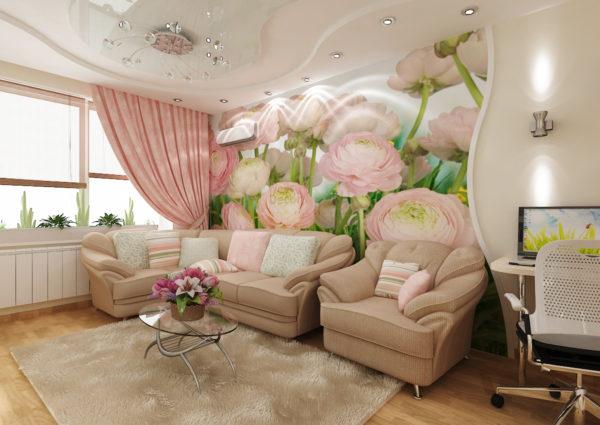 Гостиная в стиле модерн в светло-бежевом цвете