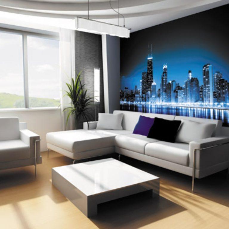 Дизайн гостиной фотообои фото