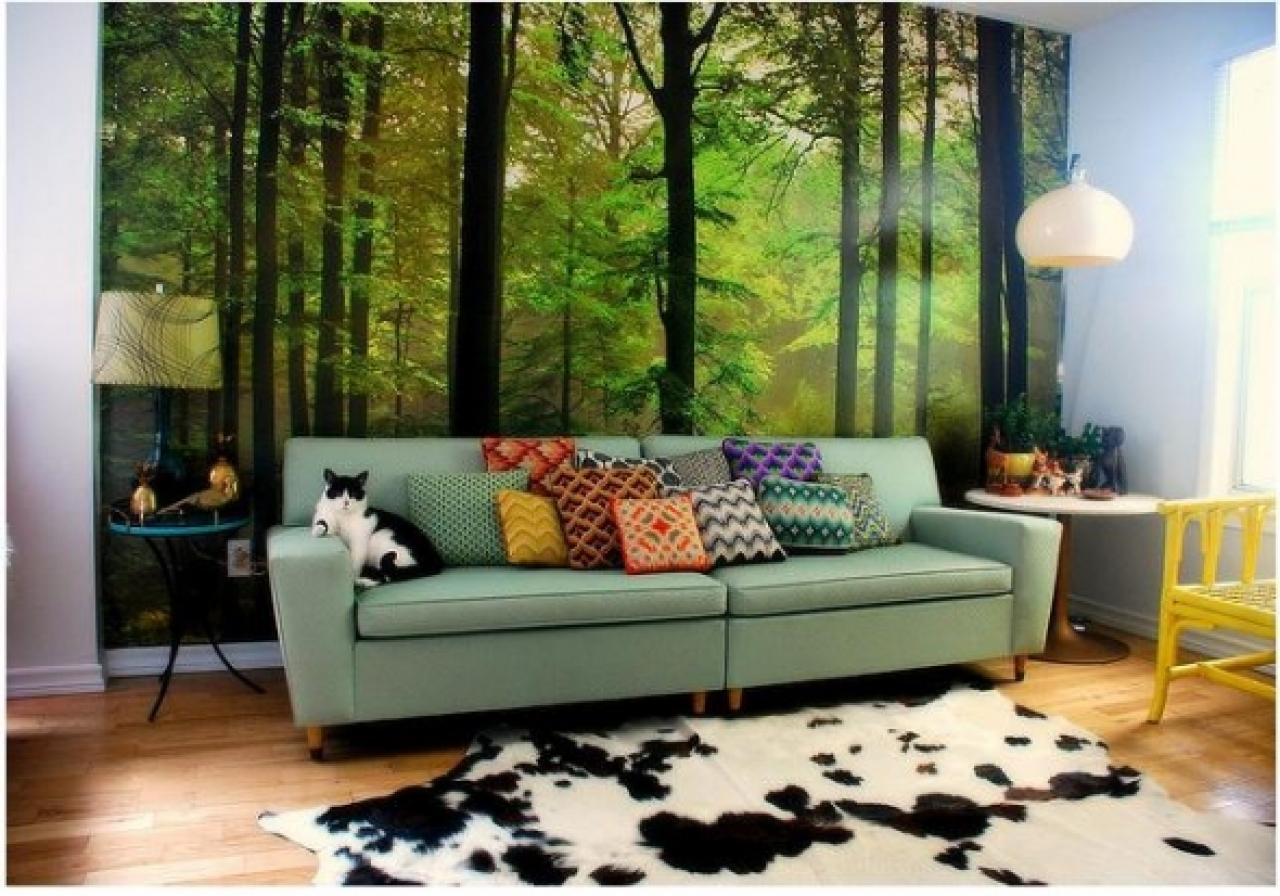 Интерьер комнаты с фотообоями леса фото