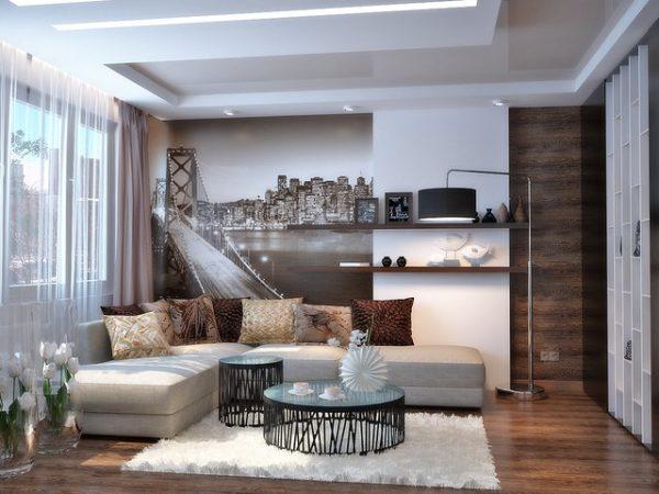 Интересный дизайн комнаты с темными фотообоями