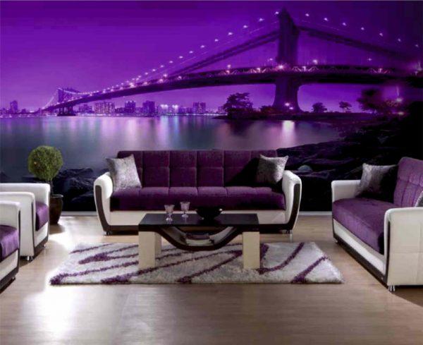 В гостиной с фиолетовыми тонами словно на берегу океана