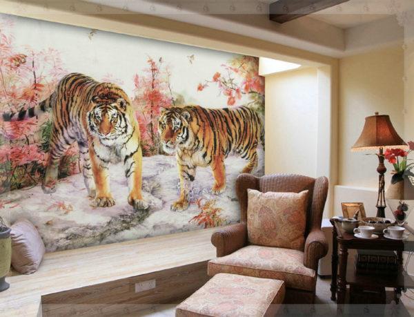 Интерьер гостиной визуально переносит нас в Китай
