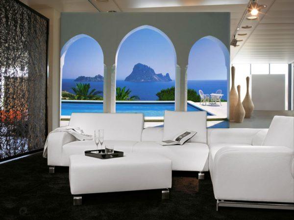 Обои с арками создают ощущения простора в гостиной