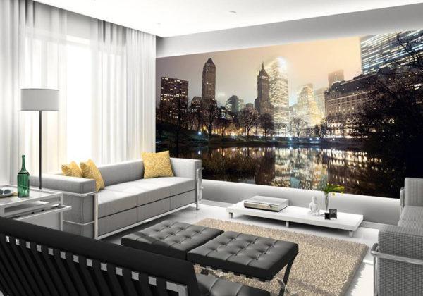 Футуристический рисунок дополняет дизайн в гостиной
