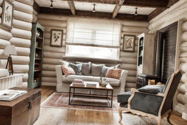 дизайн гостиной из дерева