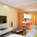 Оранженый солнечный гарнитур кухни
