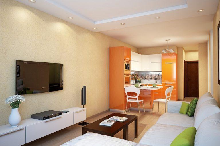 Кухня с гостиной дизайн 14 квм