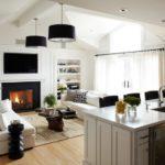 черные элементы в декоре кухни гостиной
